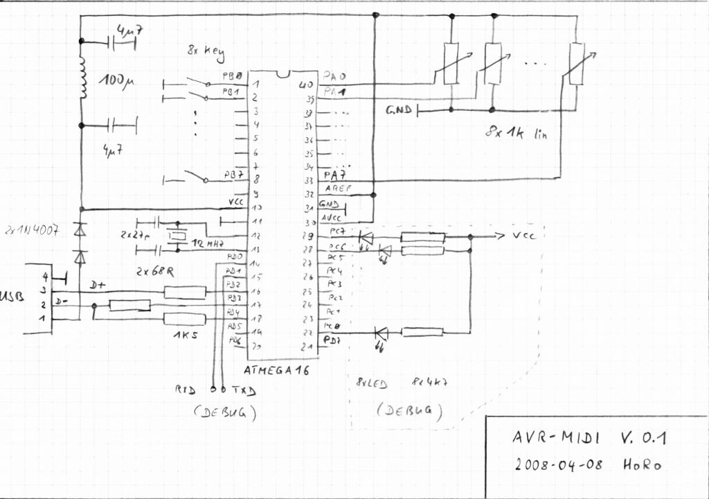 v usb schematic the wiring diagram v usb midi schematic